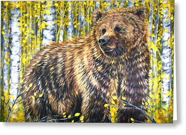Kodiak Paintings Greeting Cards - Aspen Bear Greeting Card by Teshia Art