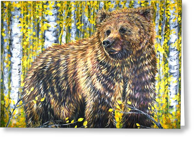 Aspens In Autumn Leaves Greeting Cards - Aspen Bear Greeting Card by Teshia Art