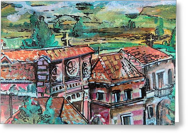 Italian Landscapes Drawings Greeting Cards - Assisi Italy Greeting Card by Mindy Newman