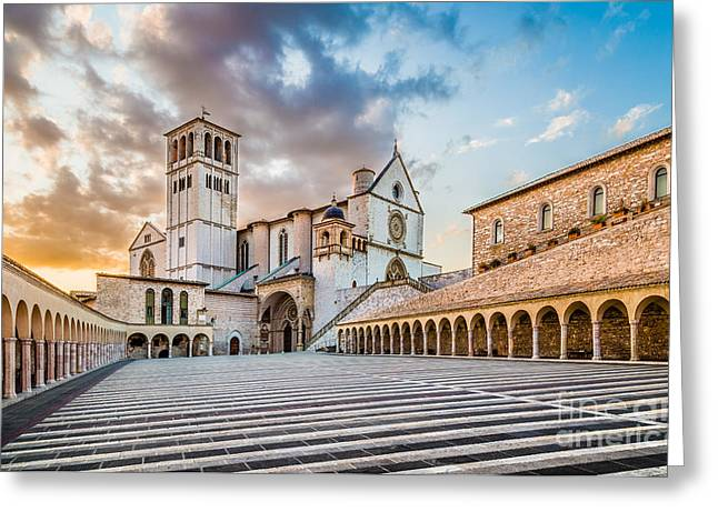 Umbria Greeting Cards - Assisi Sunset Greeting Card by JR Photography