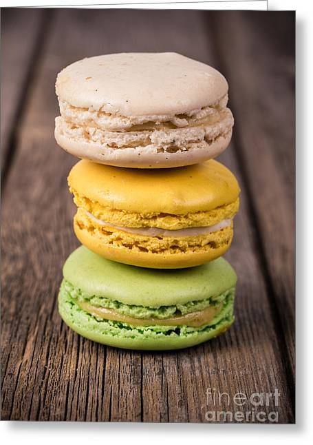 Pastries Greeting Cards - Assorted macaroons vintage Greeting Card by Jane Rix