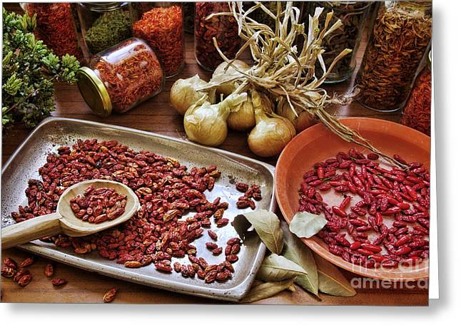 Paprika Greeting Cards - Assorted Spices Greeting Card by Carlos Caetano