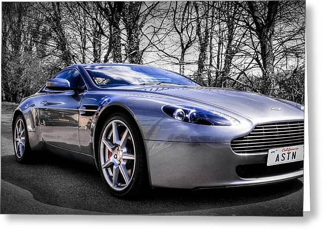 Cropped Greeting Cards - Aston martin V8 Vantage Greeting Card by Ian Hufton