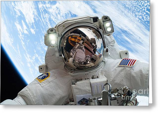 Constellations Greeting Cards - Astronaut Selfie During Spacewalk by NASA Greeting Card by Celestial Images