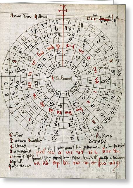 1300s Greeting Cards - Astronomical Calendar, 14th Century Greeting Card by Middle Temple Library