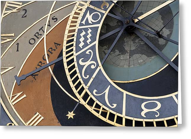 Mechanism Photographs Greeting Cards - Astronomical clock of Prague. Greeting Card by Fernando Barozza