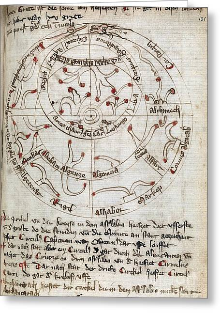 1300s Greeting Cards - Astronomical Diagram, 14th Century Greeting Card by Middle Temple Library
