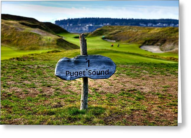 Chambers Bay Golf Course Greeting Cards - #1 at Chambers Bay Golf Course - 2015 U.S. Open Greeting Card by David Patterson
