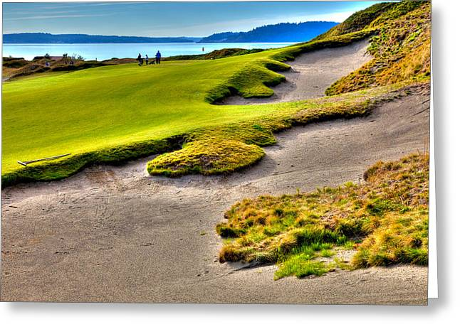 Us Open Greeting Cards - #1 at Chambers Bay Golf Course Greeting Card by David Patterson