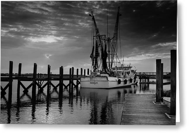 Lack And White Greeting Cards - At Dockside Greeting Card by Richard Kook