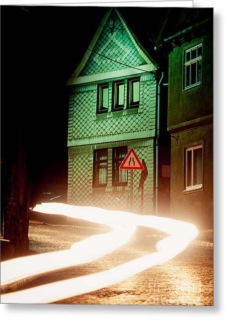 Fast Asleep Greeting Cards - At night in Thuringia village Germay Greeting Card by Stephan Pietzko