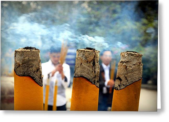 Incense Sticks Greeting Cards - At the Buddhist Temple Greeting Card by Valentino Visentini