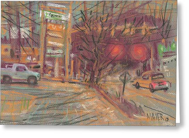 Urban Pastels Greeting Cards - At the Corner Greeting Card by Donald Maier