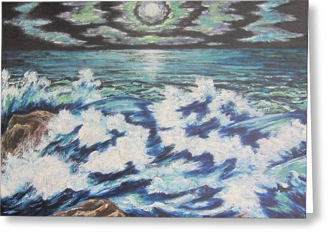 Sea Moon Full Moon Greeting Cards - At the Edge Greeting Card by Cheryl Pettigrew