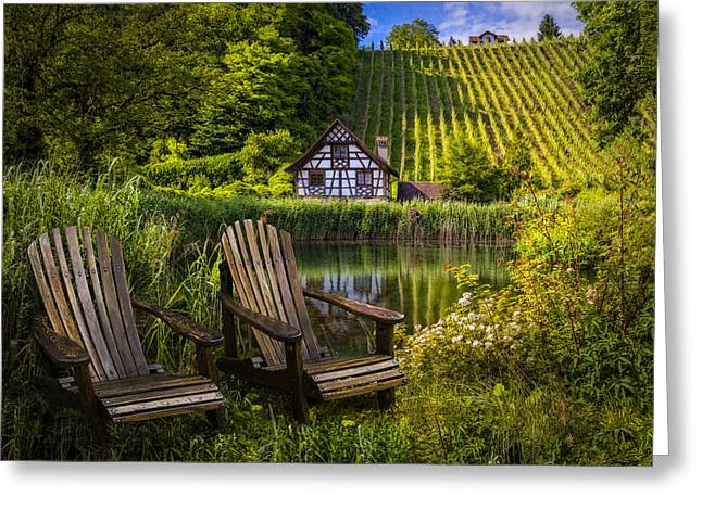 Swiss Photographs Greeting Cards - At The Lake Greeting Card by Debra and Dave Vanderlaan