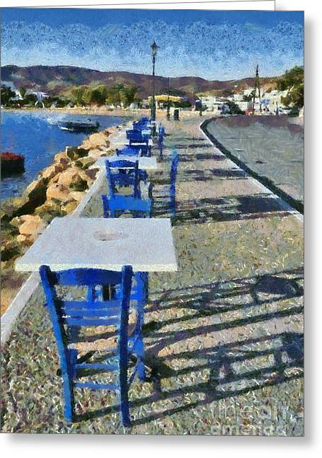 Journey Greeting Cards - At the port of Ios island Greeting Card by George Atsametakis