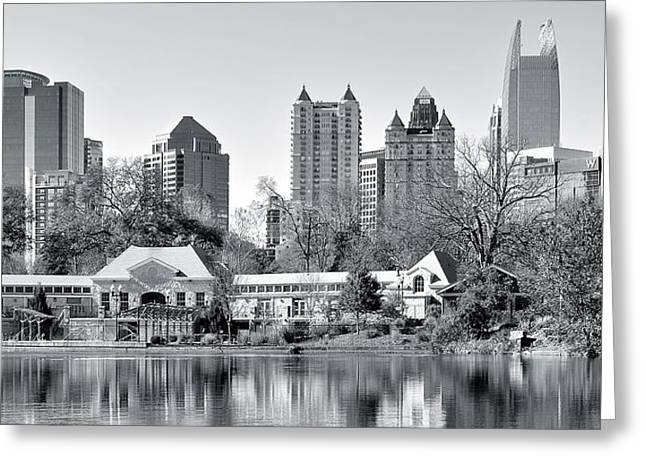 Basketball Team Greeting Cards - Atlanta Black and White Panorama Greeting Card by Frozen in Time Fine Art Photography