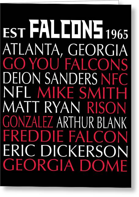 Football Words Greeting Cards - Atlanta Falcons Greeting Card by Jaime Friedman