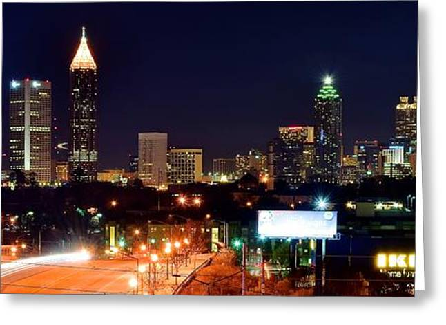 Night Hawk Greeting Cards - Atlanta From Above Greeting Card by Frozen in Time Fine Art Photography