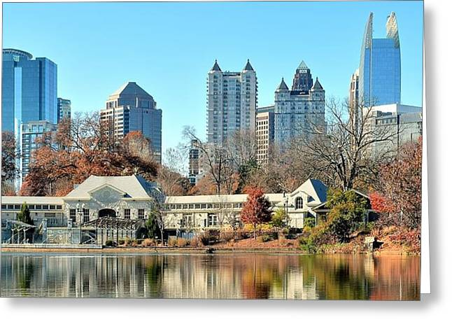 Pond In Park Greeting Cards - Atlanta Panoramic From Piedmont Park Greeting Card by Frozen in Time Fine Art Photography