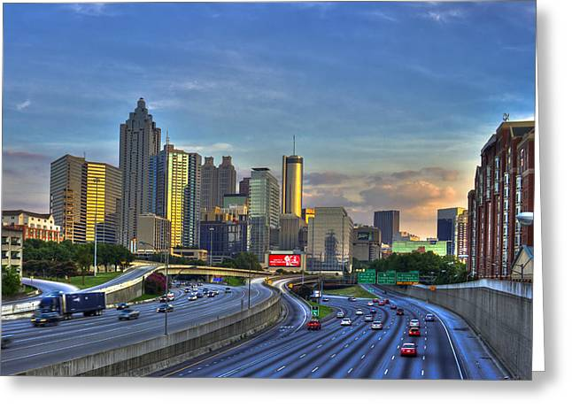 Metropolitan Area Greeting Cards - Atlanta Sunset Reflections Greeting Card by Reid Callaway