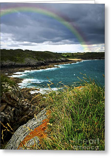 Rainbow Greeting Cards - Atlantic coast in Brittany Greeting Card by Elena Elisseeva