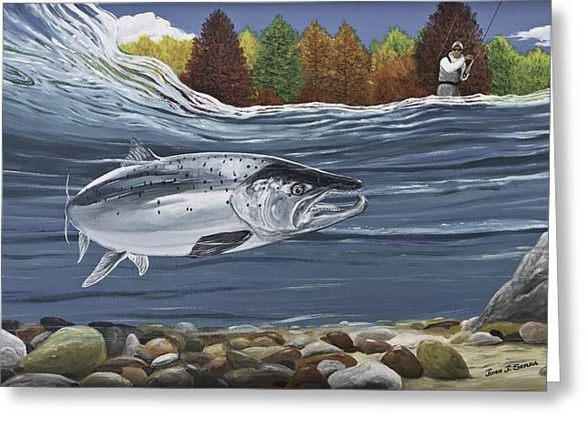 Salmon Paintings Greeting Cards - Atlantic Salmon Greeting Card by Juan Jose Serra