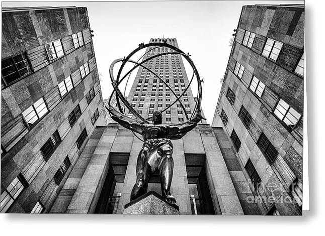 U.s.a Greeting Cards - Atlas at the Rock Greeting Card by John Farnan