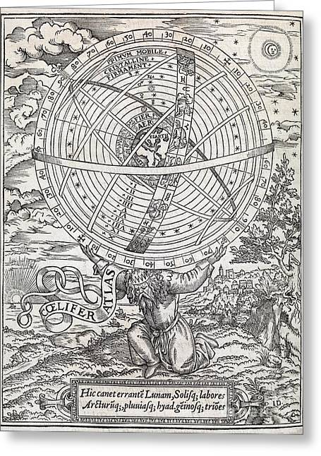 1500s Greeting Cards - Atlas Cosmology, 16th Century Artwork Greeting Card by Middle Temple Library