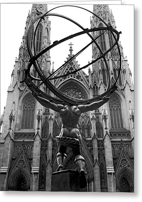 Atlas In Rockefeller Center Greeting Card by Underwood Archives