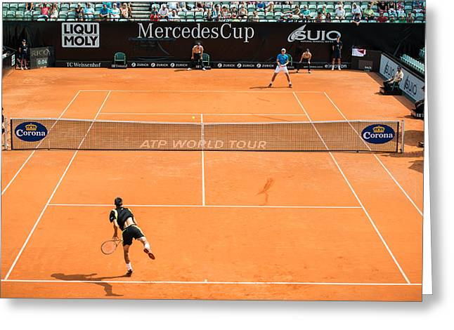 Forehand Greeting Cards - ATP Qualification in Stuttgart - Germany Greeting Card by Frank Gaertner