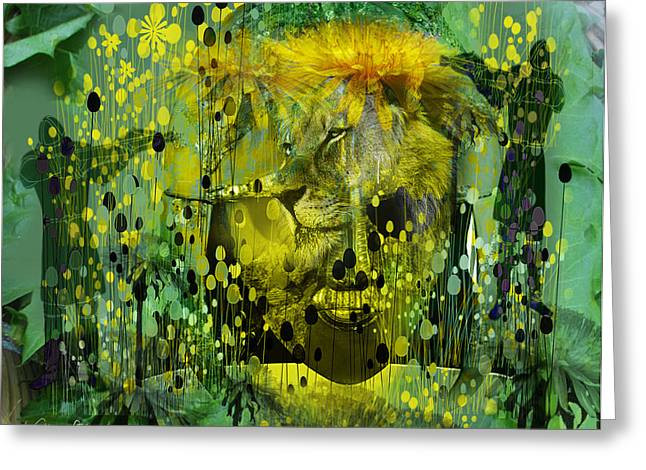 Sabine Stetson Digital Art Greeting Cards - Attacking the Dande-lion Greeting Card by Sabine Stetson