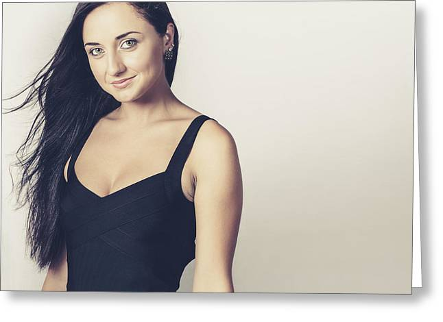Attractive Brunette Woman In Black Evening Dress Greeting Card by Jorgo Photography - Wall Art Gallery