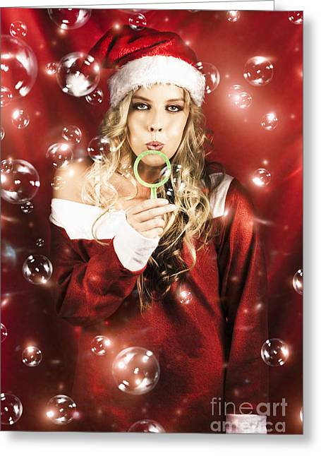 Attractive Christmas Woman Blowing Magic Bubbles Greeting Card by Jorgo Photography - Wall Art Gallery