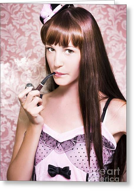 Individualistic Greeting Cards - Attractive Film Actress Smoking Pipe Greeting Card by Ryan Jorgensen