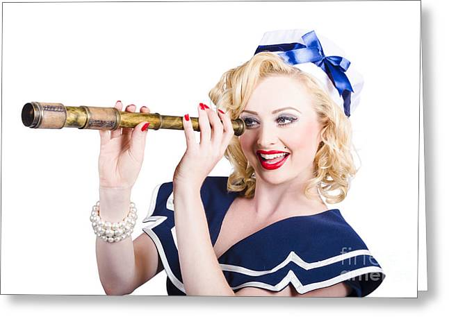Attractive Pinup Sailor Girl With A Monocular Greeting Card by Jorgo Photography - Wall Art Gallery