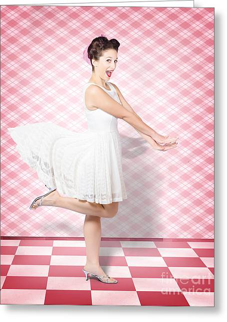 Plaid Dress Greeting Cards - Attractive pinup woman running in surprise Greeting Card by Ryan Jorgensen