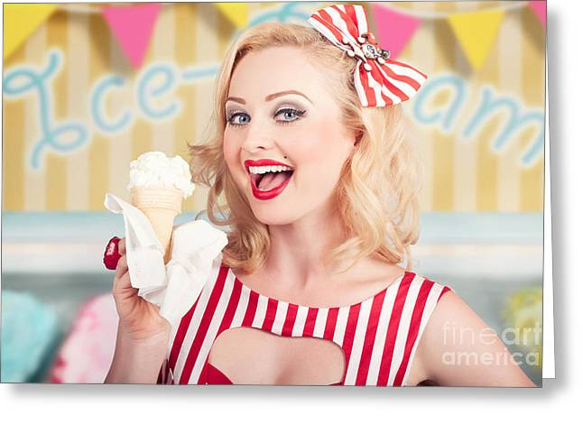 Ice Cream Illustration Greeting Cards - Attractive retro pinup girl eating ice cream cone Greeting Card by Ryan Jorgensen