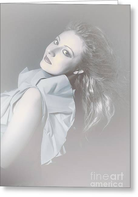Attractive Young Female Beauty In Winter Fog Greeting Card by Jorgo Photography - Wall Art Gallery