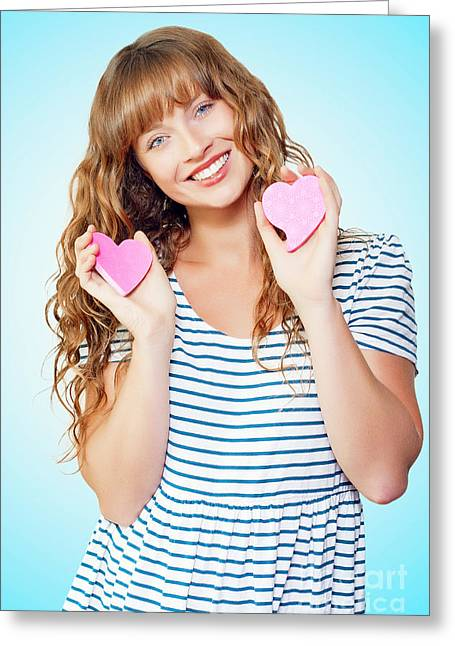First Love Greeting Cards - Attractive young teenage girl in love Greeting Card by Ryan Jorgensen