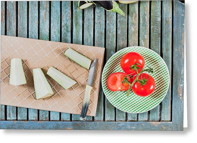 Edible Greeting Cards - Aubergines and tomatoes Greeting Card by Tom Gowanlock