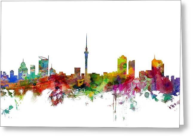 New Zealand Greeting Cards - Auckland New Zealand Skyline Greeting Card by Michael Tompsett