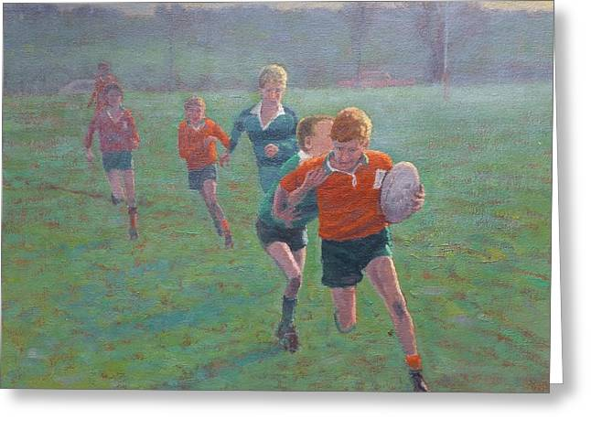 Terry Perham Greeting Cards - Auckland Rugby Greeting Card by Terry Perham