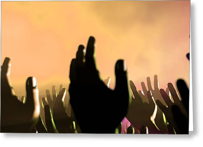 Reverence Digital Art Greeting Cards - Audience Hands And Lights At Concert Greeting Card by Allan Swart