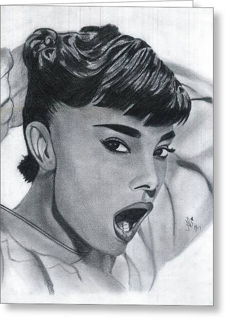 Spice Drawings Greeting Cards - Audrey Hepburn Greeting Card by Bobby Dar
