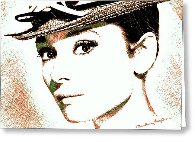 British Portraits Digital Art Greeting Cards - Audrey Hepburn Greeting Card by Dan Sproul