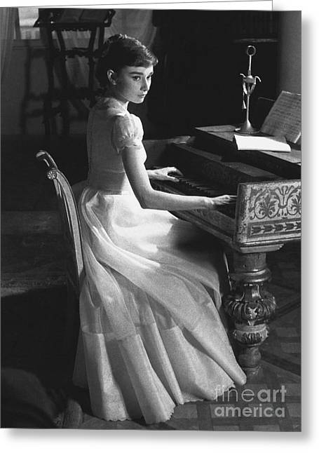 Famous Person Greeting Cards - Audrey Hepburn Greeting Card by George Daniell