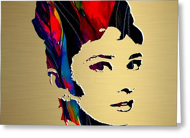 Icon Greeting Cards - Audrey Hepburn Gold Series Greeting Card by Marvin Blaine