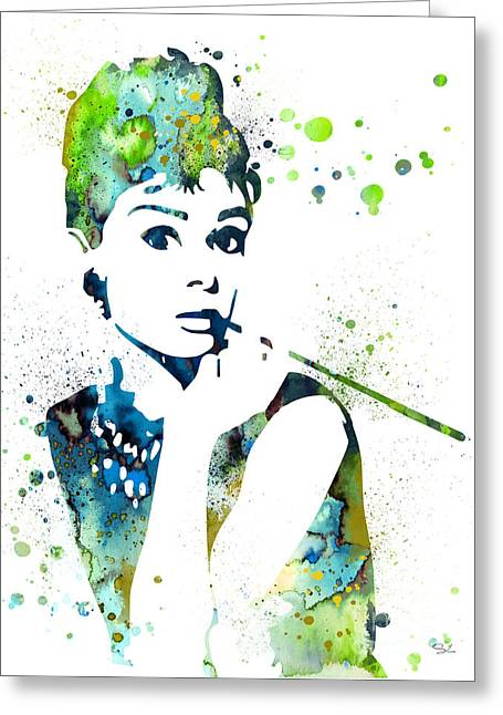 Celebrity Prints Greeting Cards - Audrey Hepburn  Greeting Card by Luke and Slavi