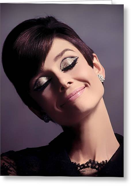 Recently Sold -  - Fame Greeting Cards - Audrey Hepburn Greeting Card by Mountain Dreams